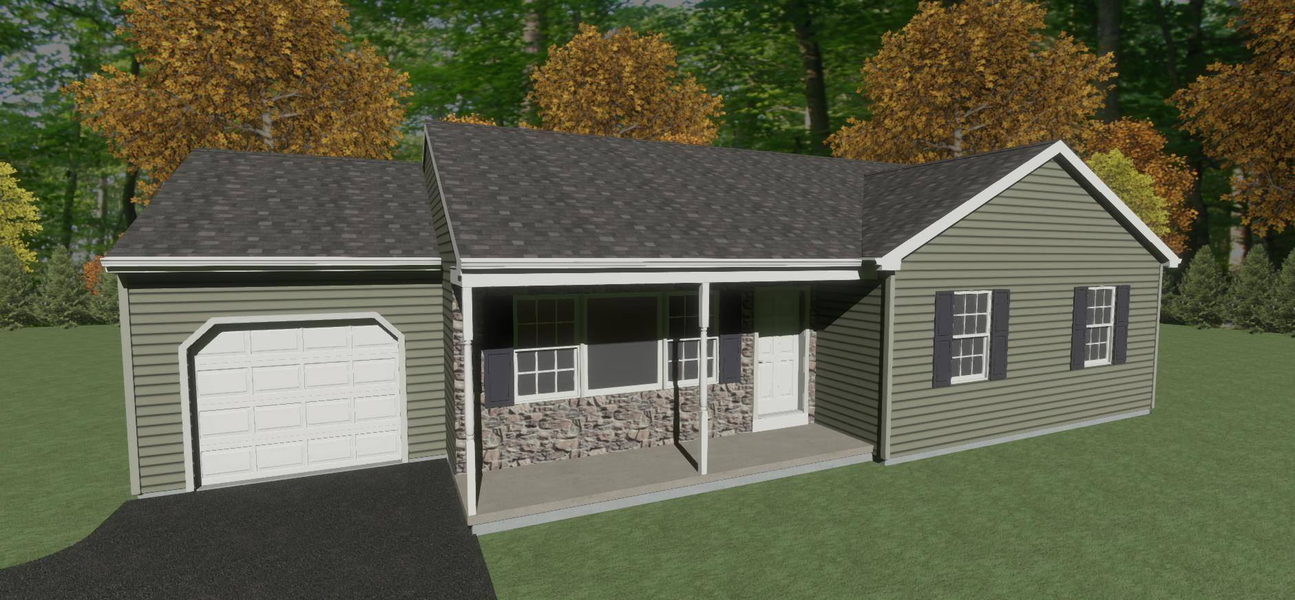 Rancher Yes - 3 Rooms - 1 Bathrooms --  1-car garage (optional) - 1264